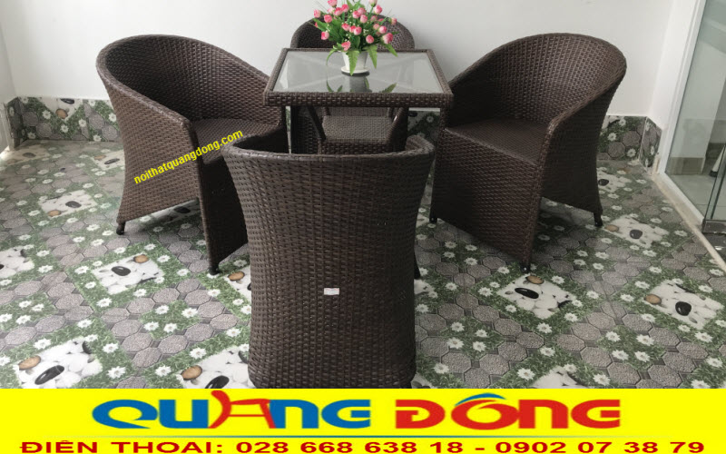 Mẫu ghế giả mây QD-098 màu nâu cafe