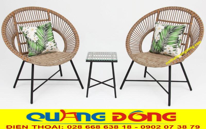 bàn ghế cafe giả mây chân cao thanh gọn QD-282