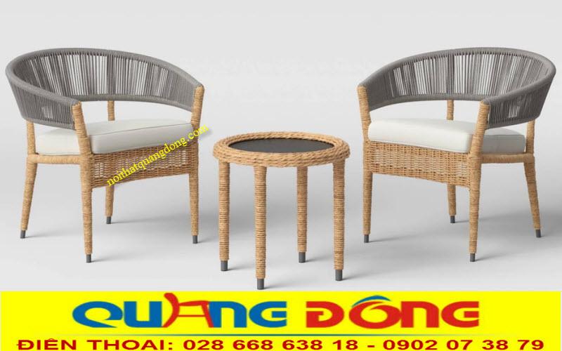 Bàn ghế nhựa giả mây 2 ghế 1 bàn
