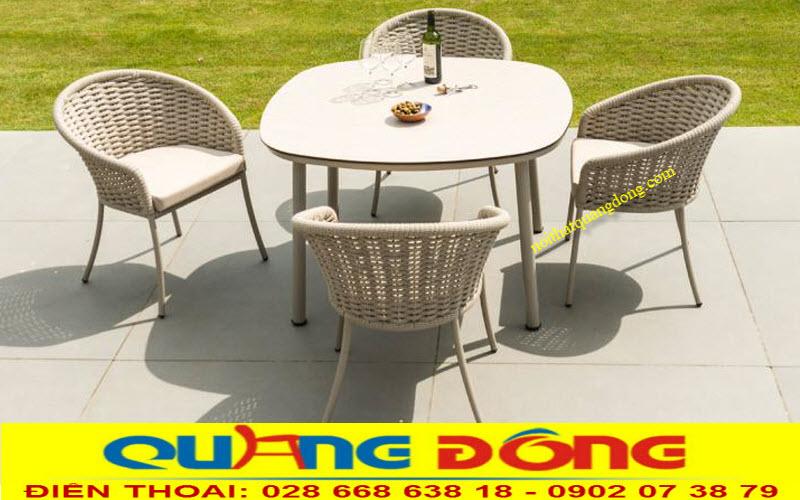 Mẫu bàn ghế sân vườn bằng nhựa giả mây QD-312