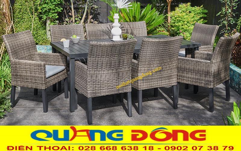 Bàn ghế mây nhựa sử dụng chân sắt sơn tĩnh điện - mẫu QD-313