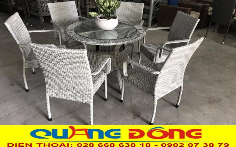 bàn ghế mây nhựa cafe sân vườn QD-314