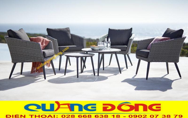 Bàn ghế giả mây QD-316 thiết kế sang trọng giả sofa ngoài trời