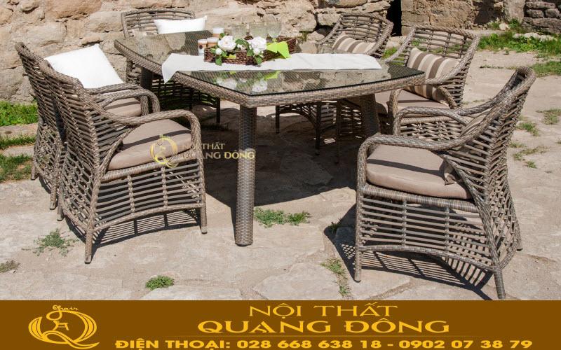Bàn ghế giả mây QD-332 thích hợp cho sân vườn