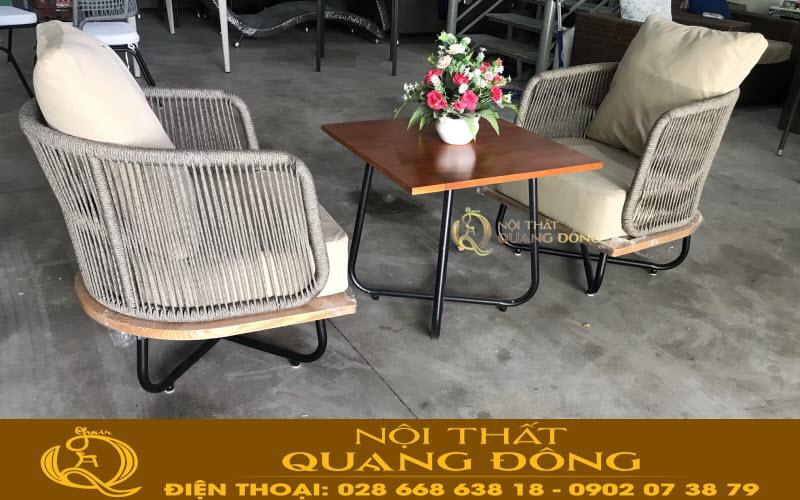 Bàn ghế mây nhựa QD-339 được kiểm tra nghiệm thu tại xưởng sản xuất Quang Đông