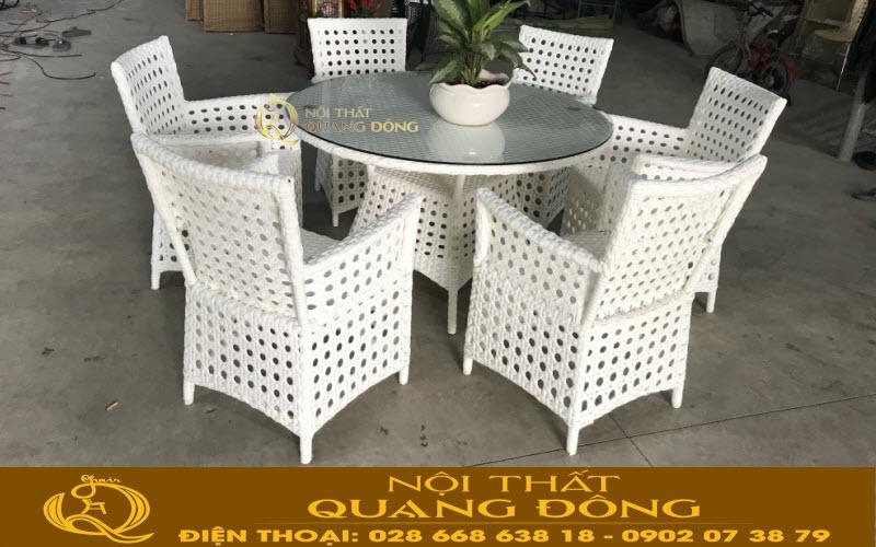 Set bàn ghế mây nhựa cao cấp gồm 1 bàn và 6 ghế