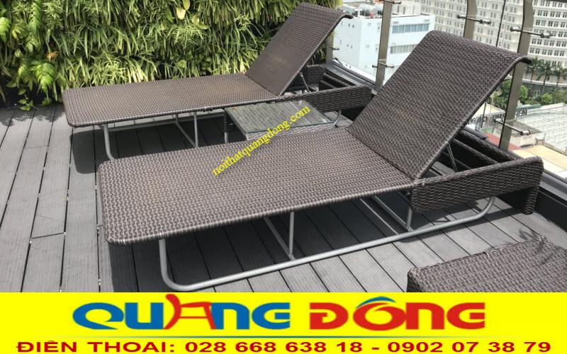 Mẫu ghế nằm thư giãn hồ bơi QD-1252 băng nhựa giả mây cao cấp