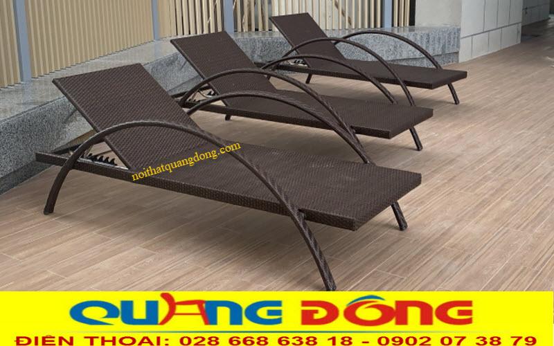 Ghế nằm hồ bơi mây nhựa QD-1255 cho bể bơi