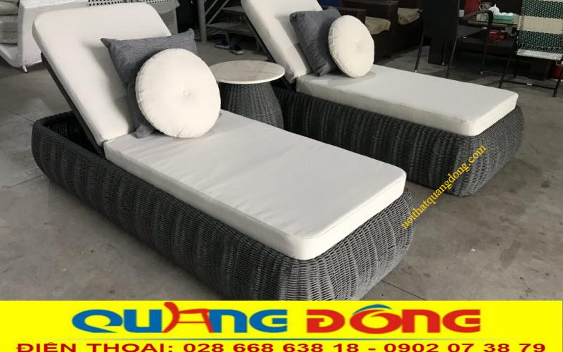 Ghế tắm nắng cao cấp QD-1256 băng nhựa giả mây