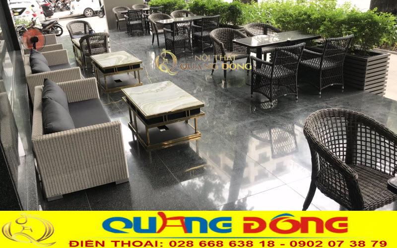 Bàn ghế mây nhựa cung cấp cho không gian kinh doanh dịch vụ ăn uống cafe của northern cham hotel