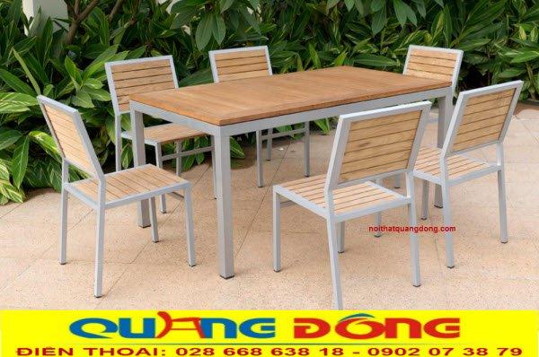 Bàn ghế gỗ khung sắt QD - 10
