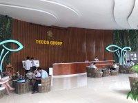 Không gian tiền sảnh của  công ty Teco Hà Nội được trang trí bởi những bộ bàn ghế giả mây Quang Đông